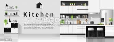 Interior Design Modern Kitchen Background 5 Stock Vektor Modern Kitchen Vector Free File Now