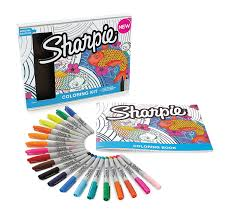 Amazon Sharpie Permanent Markers 10 Fine Ultra Tip Assorted Colors With Aquatic Themed Adult Coloring Book Office Products