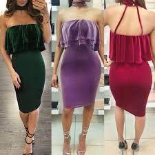 2017 Sexy Velour Off Shoulder Slash Neck Strapless Ruffle Packege Hips Long Sleeve Trendy Women Slim Mini Dress Party Choker Midi Dresss Womens