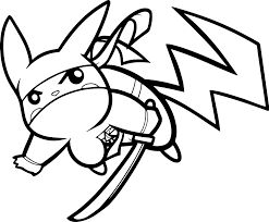 Pikachu Coloring Pages Ninja
