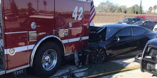 100 Fire Truck Accident Tesla Model S Reportedly On Autopilot Crashes Into Fire Truck At 65