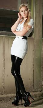Heather grey cotton dress paired with shiny black latex stockings