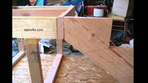 Distance Between Floor Joists On A Deck by Floor And Deck Stringer Connection How To Build Stairs Youtube