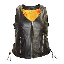 women u0027s premium cowhide leather lace side zipper vest jafrum