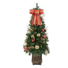 Pre Lit New Plaza Potted Artificial Christmas Tree With 50 Lights
