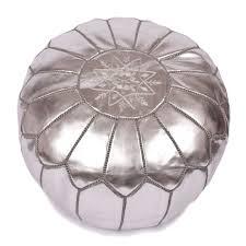pouf marocain en cuir argenté pouf design baboucheshop