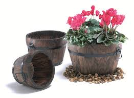 Flower Pots Stands Burnt Wood Pine Curved Barrel Planter With Handles Small