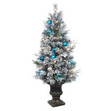 4 Ft Pre Lit Flocked Pine Porch Artificial Tree With 50 Clear