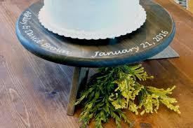 Personalized Wedding Cake Stand Rustic Round 2514458