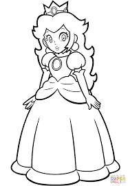 Princess Peach Coloring Pages Mario Page Free Printable Good