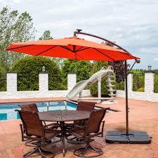 Radio El Patio Hn by Sunnydaze Steel Offset Solar Patio Umbrella W Cantilever