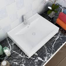 keramik waschtisch waschbecken rechteckig weiß 60 x 46 cm