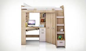 lit mezzanine avec bureau et rangement lit combiné en hauteur enfant avec bureau et armoire en bois