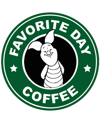 Starbucks Inspired Piglet Coffee Logo