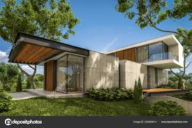 100 Modern Hiuse 3d Rendering Of Modern House On The Hill With Pool Stock