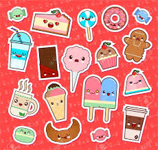 Set Of Cute Kawaii Food Emoticon Stickers Cupcake Ice Cream Donuts