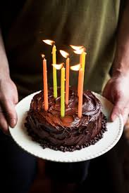 Yellow Birthday Cake with Chocolate Frosting for Two
