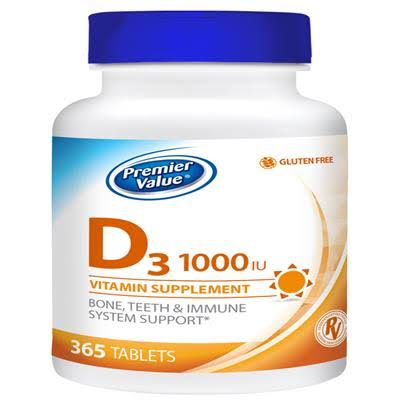 Premier Value D Vitamin Supplement - 1000IU Tablets 365 ct. Premier Value.