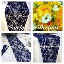 WEDDING DECOR Navy Blue Lace Table Runner 3ft To 10ft Long X 7 Wide Rustic DecorNavy Weddings Overlay Wedding Ideas Ends Not Sewn
