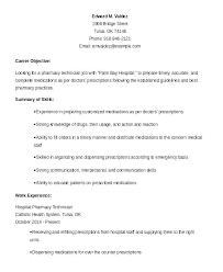 Technician Resume Template Pharmacy Tech Clinical Care