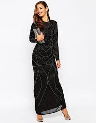 image 1 of asos red carpet delicate 20s beaded long sleeve maxi