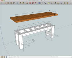sketchup model of the rustic farmhouse table bench with benchtop