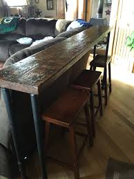 Narrow Sofa Table Behind Couch by Behind The Couch Bar Top 1 Inch Pipe And 2x12 Stained Wood Top