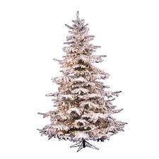 75ft Pre Lit Artificial Christmas Tree Full White Flocked Sierra