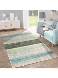paco home designer teppich modern wohnzimmer farbverlauf streifen muster pastell grün blau creme klingel