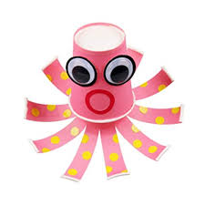 DRAGON SONIC Set Of 5 DIY Handwork Easy Making Paper Material Kits Kids Toys Cute Octopus