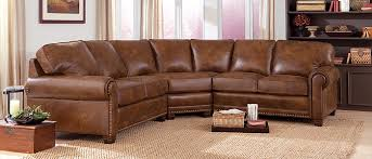 Rustic Leather Sectional Sofa Dark Brown Colored Sofas Large Size Softly Elegant Design And Retro Classic