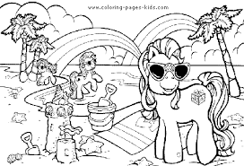 My Little Pony On The Beach Summer Color Page Holiday Coloring Pages Plate