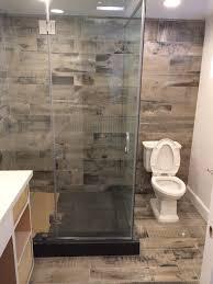 reclaimed wood look bathroom shower