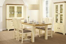 Country Dining Room Ideas Uk by Country Cream Painted Extending Round Dining Table