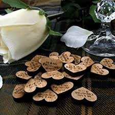 100 Love Heart Decorations Wooden Table Hearts Rustic Wedding Vintage Amazoncouk Kitchen Home