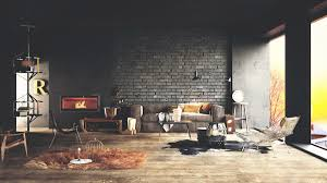 Living Room Rustic Vintage Decorating Ideas Inbuilt Fireplace Exposed Brick Wall Style Gray