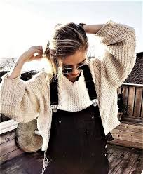 Overall Style Cable Knit Chunky Sweater