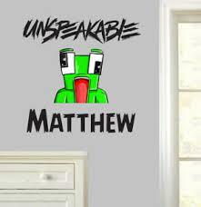 details zu personalised unspeakable logo wall stickers bedroom youtuber minecraft gamer