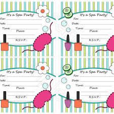 Spa Party Printable Fill In Invitation DIY 5 X 4 Flat Card Invitations