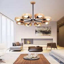 moderne pendelleuchte aus holz e27 für wohnzimmer