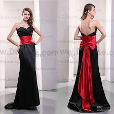 2013 sweetheart bridesmaid dresses black and red with fold back