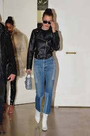 bella hadid wears re done levi u0027s denim patch jeans the jeans blog