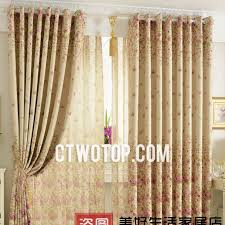 Country Style Living Room Curtains by Country Printed Blackout Floral Style Living Room Curtains In Beige
