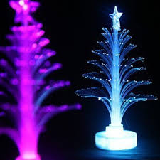 2pcs Novelty Glowing Fiber Optic Christmas Tree Night Lamp Led Bottom Sticker Light For Romantic Home Decorative In Lights From