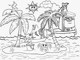 Cartoon Minions Beach Coloring Pages