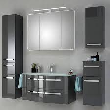 badezimmer waschtisch fes 4005 66 hochglanz lack steingrau inkl glaswaschbecken weiß b h t 117 49 7 49 1cm