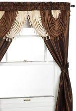 Priscilla Curtains With Attached Valance by Brown Curtains Drapes And Valances Ebay