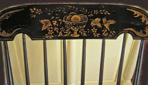 Classic Boston Rocker With Black Paint & Gold Fruit & Flora ...
