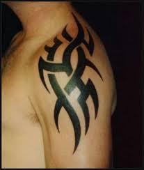 Black Ink Simple Upper Sleeve Tribal Tattoo For Men