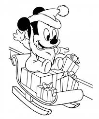 Mickey Mouse Snow Sledge Christmas Coloring Pages Baby With Presents On His